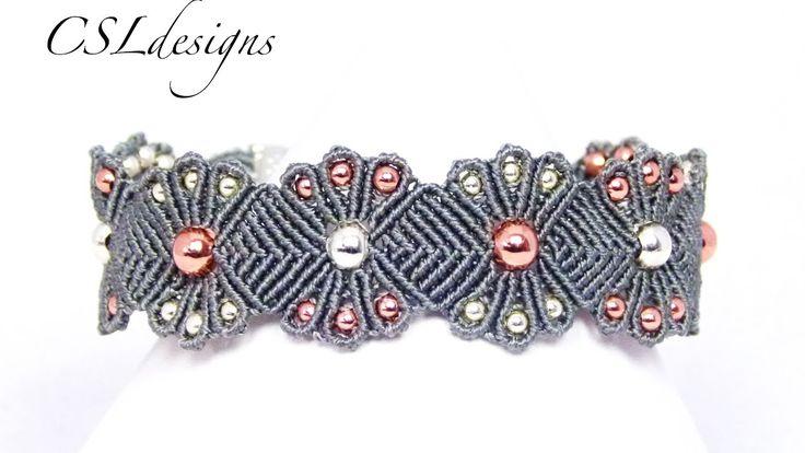 Micro macrame flower bracelet