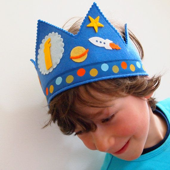 Boys Personalized Felt Birthday Crown Outer Space Solar by mosey