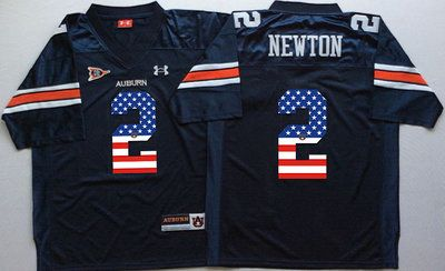 Auburn Tigers 2 Cam Newton Navy USA Flag College Jersey