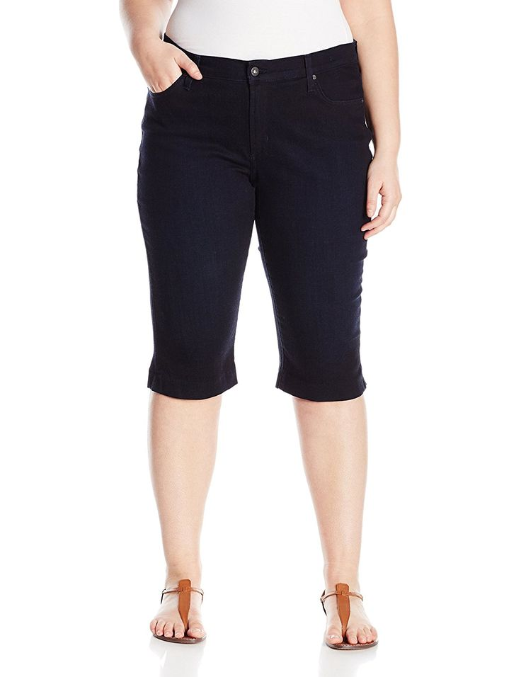 James Jeans Women's Plus-Size Sophia Knee Crop Slimming Short * Check out this great image  : Plus size jeans