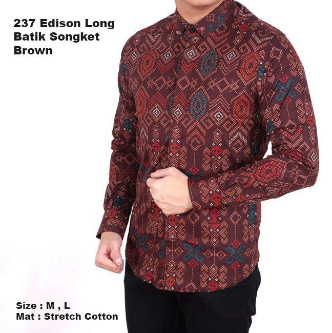 Jual kemeja batik lengan panjang pria cowok / baju batik songket modern Berkualitas @110rb