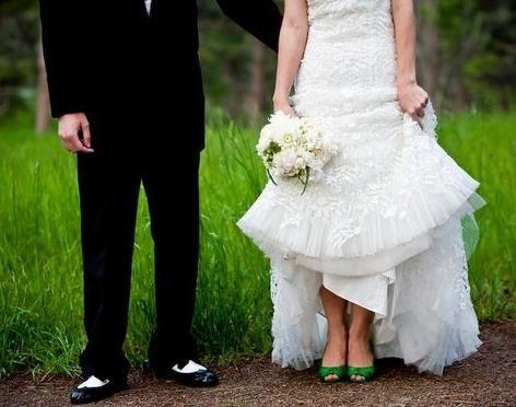 Зеленые туфли на свадьбу