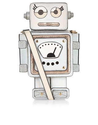 Get tech-savvy with our metallic robot across-body bag, with an appliquéd face and body, glitter details and 3D nuts and bolts. Engineered with a boxy design, this curious creation also features a magnetic closure plus an adjustable shoulder strap.