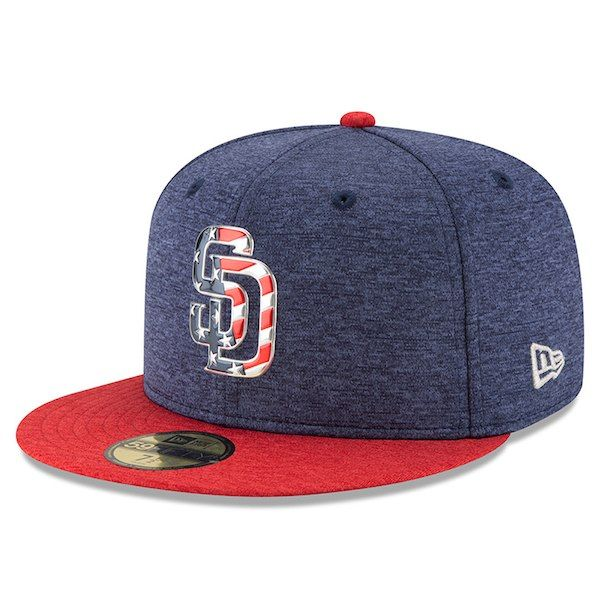new arrival da224 7b242 Men s San Diego Padres New Era Heathered Navy Heathered Red 2017 Stars    Stripes 59FIFTY