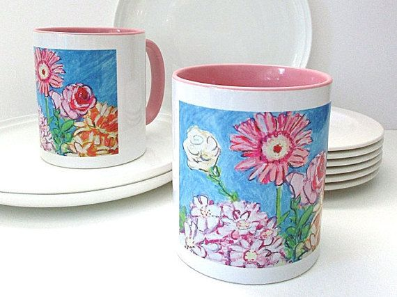 Beautiful colours of these floral mugs that make a great start everyday having a nice coffee in them! Makeforgood Mug Flower Mug Colourful Mug Coffee by InekedeVries