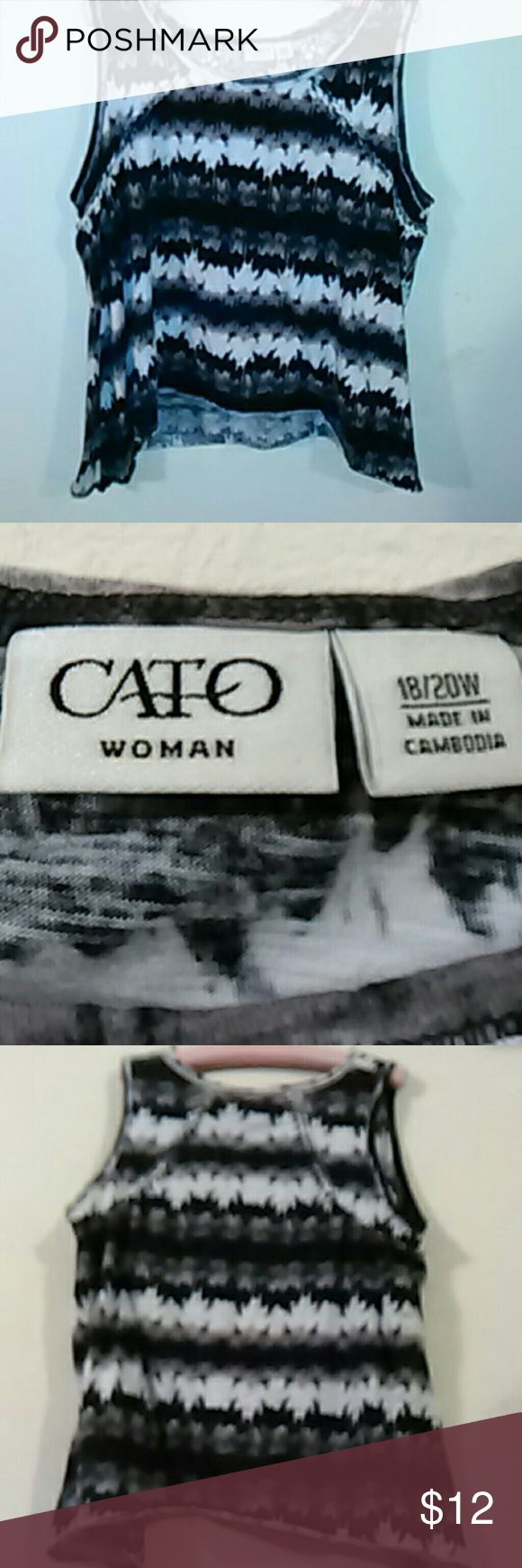 Cato Woman Crop Top Neutral colors ,Browns, Tan, Blacks and Whites. Sleeveless t- shirt. 18/20W    (2) Cato Tops Crop Tops