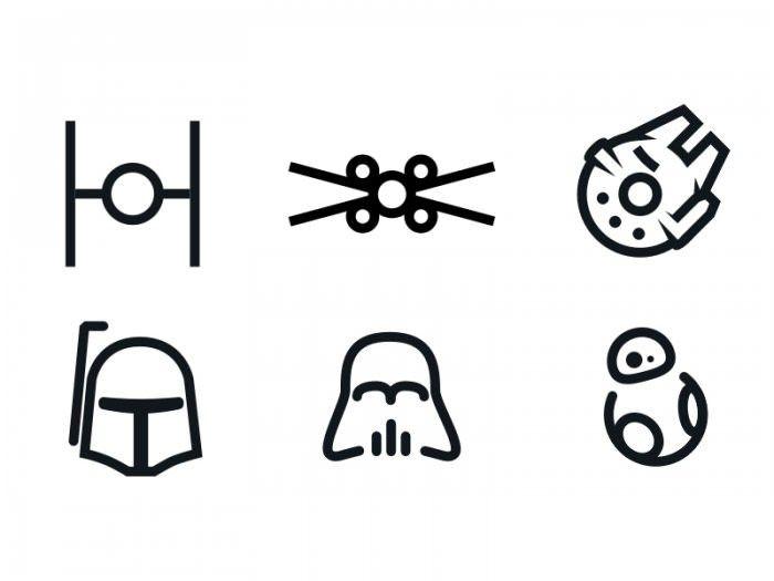 set of Star Wars minimal icons FD1033