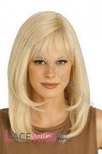 Medium Lob Straight Blonde Hair 100% Human Hair Wigs