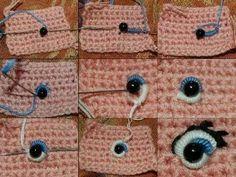 Amigurumi : Embroidered Eyes, tutorial voor het borduren van ogen voor je knuffel (alleen foto), amigurumi,