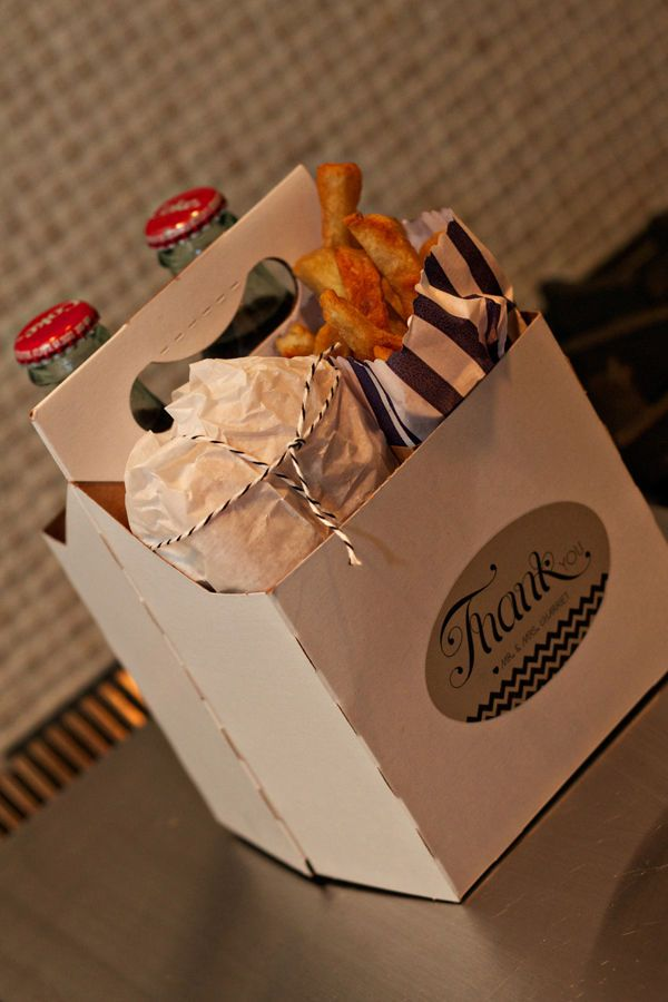 late night food for your guests, to go! mmm...old fashion coke bottles!