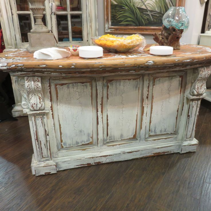 Marvelous Distressed French Country Kitchen Island Bar Counter Majestic Fog Corbels
