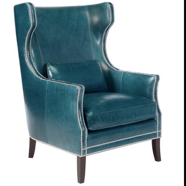 Aqua studded wingback chair  For the Home  Accent chairs