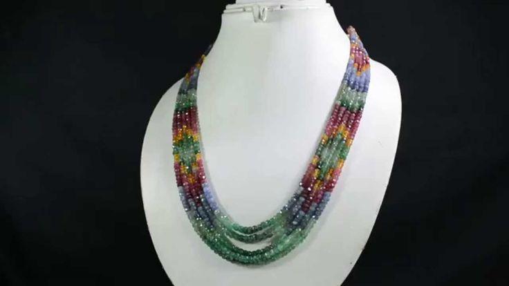 5 Strands Natural Ruby Emerald Sapphire 382ct Multi Row Gemstone Beads N...