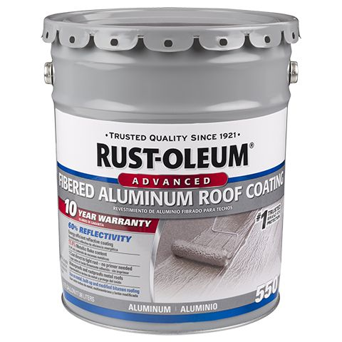 Rust-Oleum® 10 Year Fibered Aluminum Roof Coating is a metallic pigmented coating used for rust-proofing and weatherproofing metal roofs and sidewalls, and as a reflective coating for built-up roofing and modified bitumen roof systems. It reflects heat, prevents corrosion and protects against mild acid and alkali fumes on a variety of substrates. This reflective coating protects low and steep slope roofs from harmful UV damage while supporting overall energy efficiency.