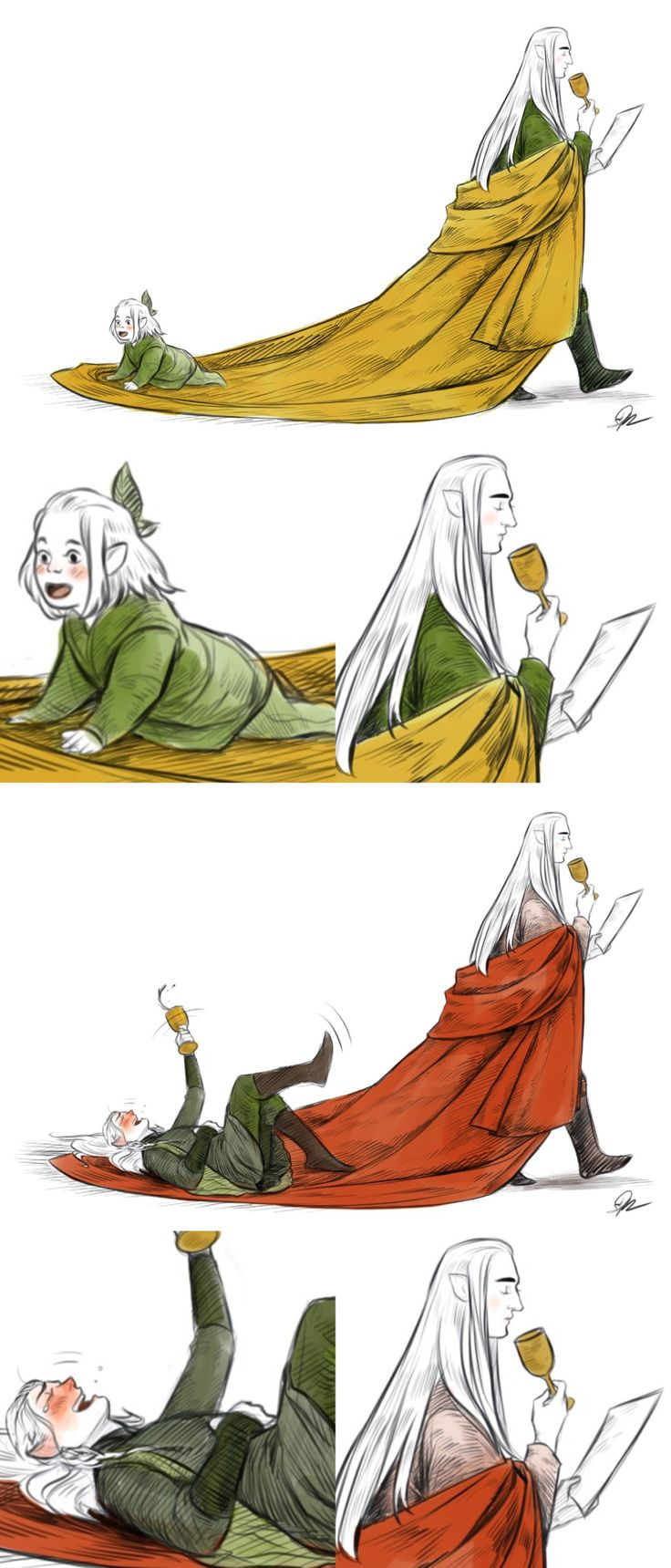 Legolas always loved riding the end of his father's robes as a little elfing~ Thranduil never minded and always felt quite amused by it… …even when Legolas was older and drunk. ;'3