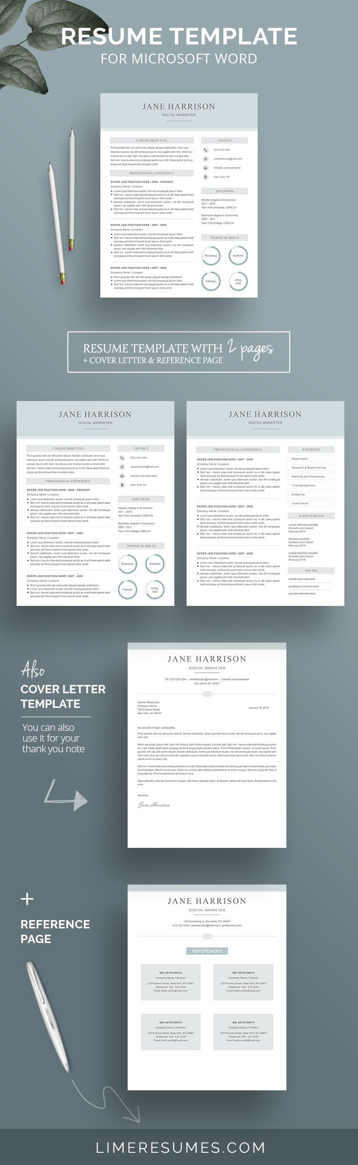 Modern Resume Template 2 Page Resume