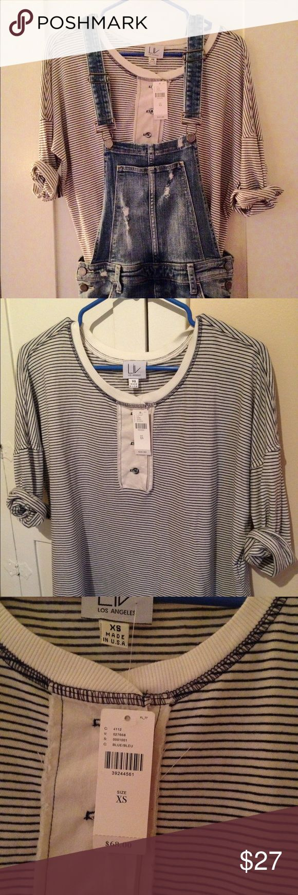 Anthropologie top This is NWT by Liv from Anthropologie size xs .. Very cute casual top . Stripes with buttons on front .. Pair with denim Anthropologie Tops Tees - Long Sleeve