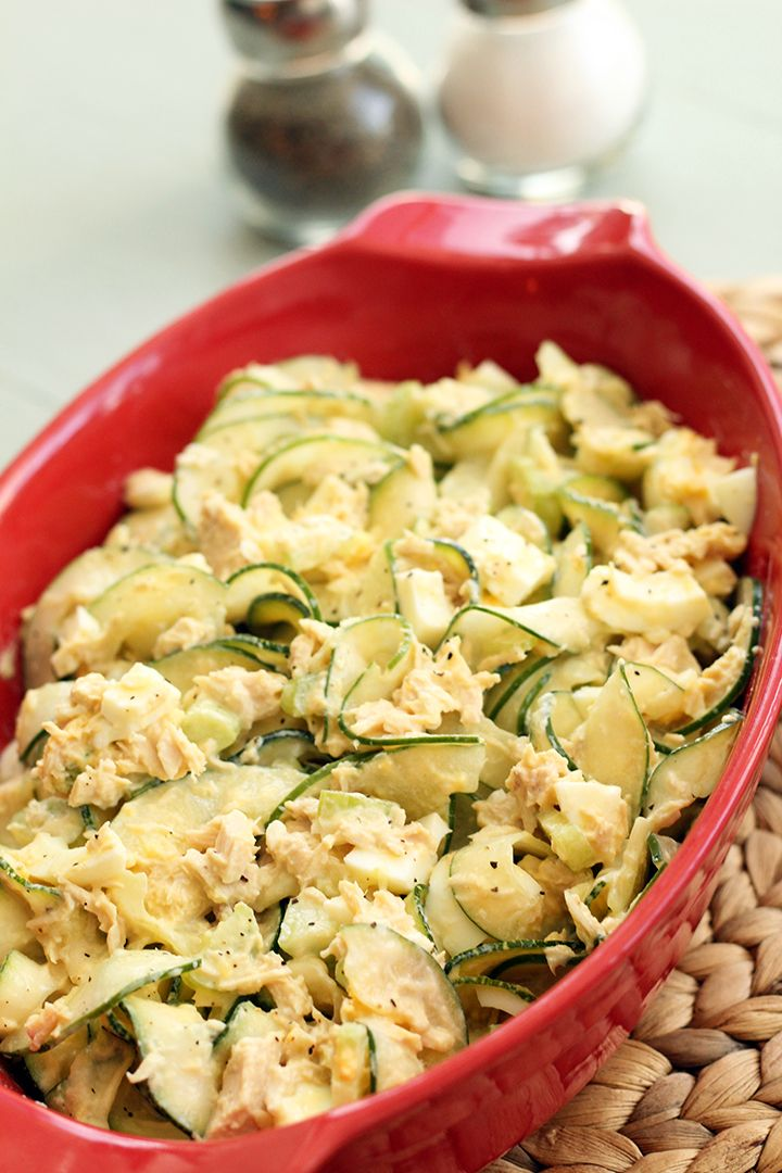 Tuna, Celery and Egg Spiralized Zucchini & Cucumber (Pasta) Salad - There is NO MAYO in this salad...Inspiralized.com