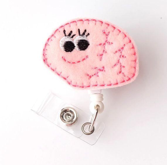 Betty Brain - Feltie Name Badge Reels - Cute Retractable ID Badge Holder - Neuro Nurse Gift - Pediatric Neurologist - RN Badge - BadgeBlooms on Etsy, $7.00