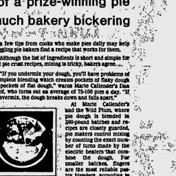 Eugene Register-Guard - 1982; pg 33; Pie Crust; Short Crust; Passover Garden Casserole; Spinach Schav; Vietnamese Pho; Honey Curry Chicken; Kraut Runzas; Braided Buttermilk Herb Bread; Filet de Boeuf Perigourdine; Tipsy Parson; Derby Day Eggs; Beef and Potato Sausage; Chicken Soup with Matzo Balls; Crunchy Baked Ham; Mexicali Quiche; Passover Blintzes; School for early gardeners