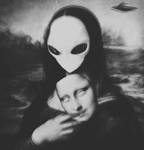 Alien Mona Lisa. I had a goal of pinning a reinterpretation of Mona Lisa to every one of my boards. I have since put them all together.