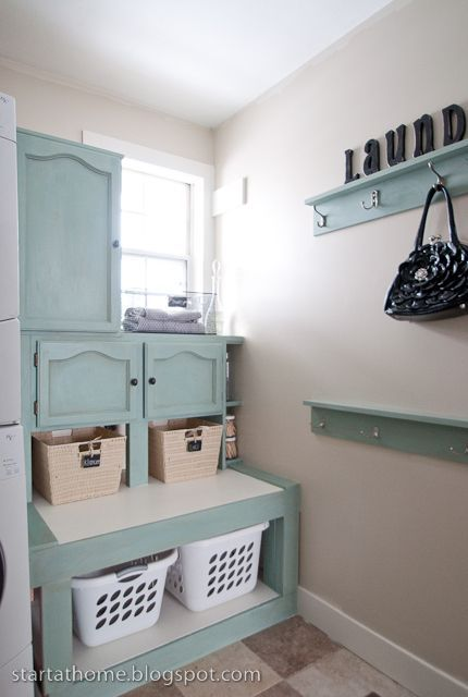 Annie Sloan Laundry Room | Amazing laundry room makeover in Duck Egg! | Chalk Paint® Decorative ...