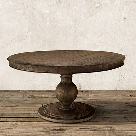 "Lara 60"" Round Pedestal Dining Table in Brown"