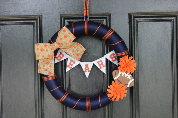 Chicago Bears Football Yarn Wreath by BeautifulTiming on Etsy, $30.00