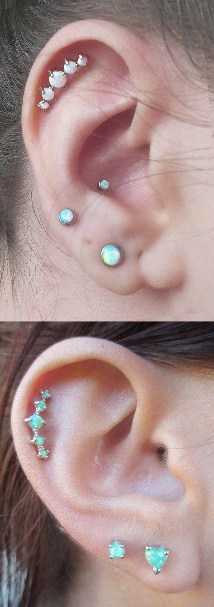 Idées uniques de piercing à plusieurs oreilles - 5 boucles d'oreilles en cartilage de pie ...