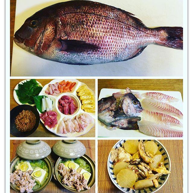 【mrs.bigmama】さんのInstagramをピンしています。 《今日は、福井県の海に釣りに行っていた知り合いから、40センチ強の鯛が釣れたから、持って行くって連絡があり、孫たんが手巻き寿司が食べたいと言ったから、マグロ、イカ、ハマチ、鮭を買い足しました。いつもは、イクラ、甘エビは前もって注文しているので、今日は無理でした。鯛はお刺身にした残りのアラは、大根とアラ炊きにしました。後は豆腐と、すだち、豚肉、ネギ、白菜いっぱいの、一人鍋です。 #おうちごはん#ばんごはん#晩御飯#ディナー#手巻き寿司#福井県#海#釣り#海釣り#鯛#刺身#あら#魚#おいしい#美味しい#大根#煮物#一人鍋#水炊き#豆腐#すだち#豚肉#白菜#ネギ#孫》