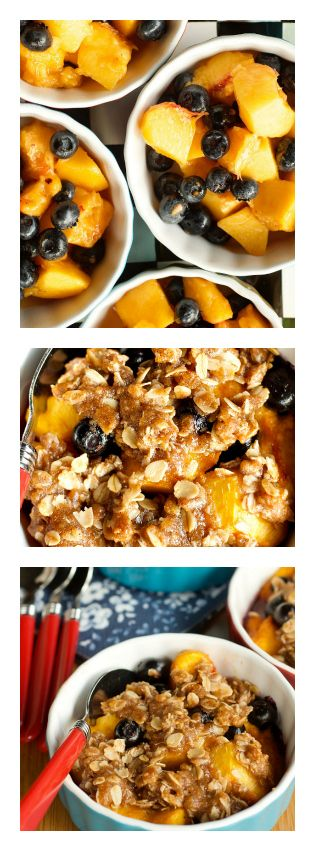Start with peaches and blueberries and almond extract - no sugar (in the fruit mixture)! Easy cookie crumble on top. Delicious!   Peach Blueberry Crisp | reluctantentertainer.com