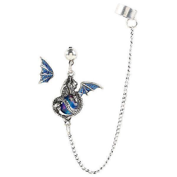 Blackheart Blue Glitter Dragon Ear Cuff Stud Hot Topic (£5.24) ❤ liked on Polyvore featuring jewelry, earrings, long ear cuff, wing ear cuff, chain drop earrings, long drop earrings and blue earrings