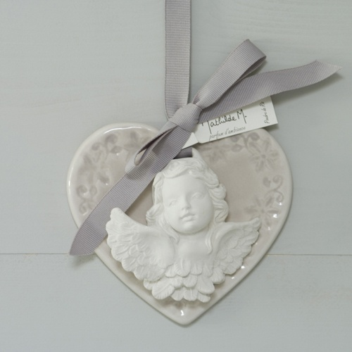 Pendentif Coeur et Ange Parfumé Poudre de Riz Mathilde M Déco.