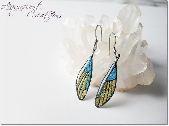 Small butterfly wing earrings dangle by AquascentCreations on Etsy