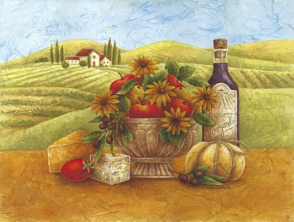 Картинки с деревенским пейзажем в стиле прованс вино, открытки короткие открытки