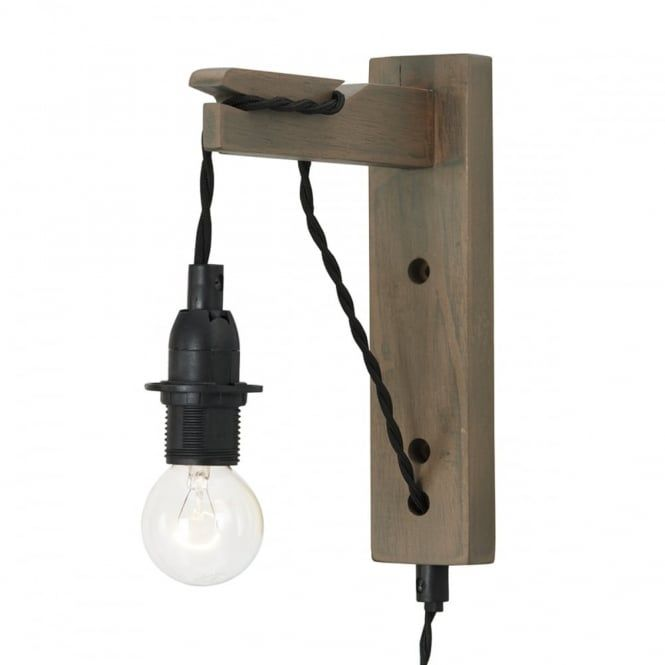 grey washed wood wall light bracket with plugged cable