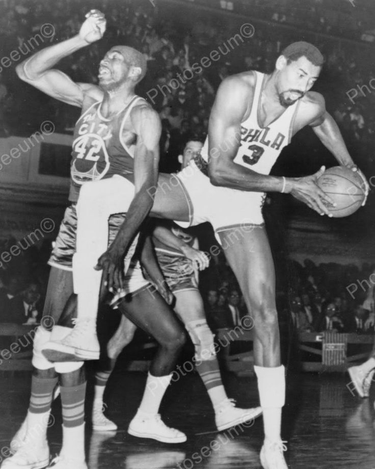 Wilt Chamberlain & Nate Thurmond Basketball Vintage 8x10 Reprint Of Old Photo