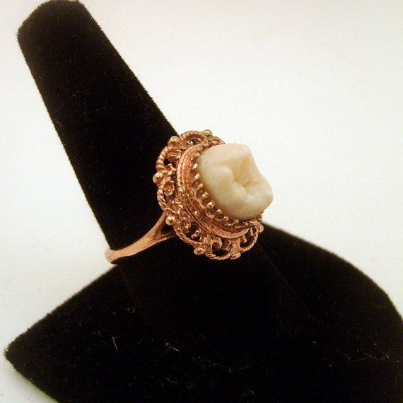 LOVED TO DEATH Memento Mori Genuine Human Tooth Ring Victorian Inspired Rose Gold Vermiel Filigree Size 5 6 7 8 9