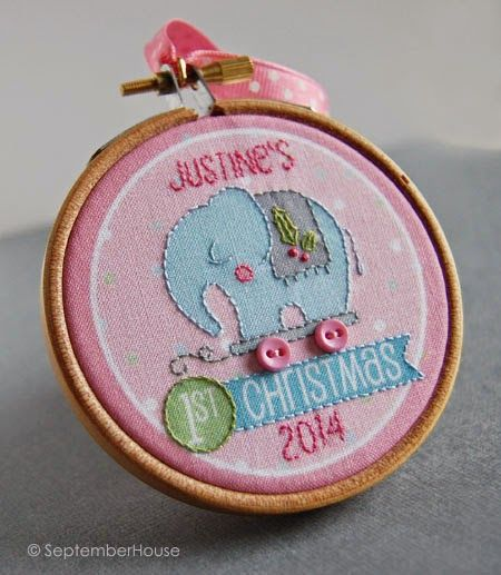 Baby's 1st Christmas Pink Elephant Holiday 2014 personalized ornament