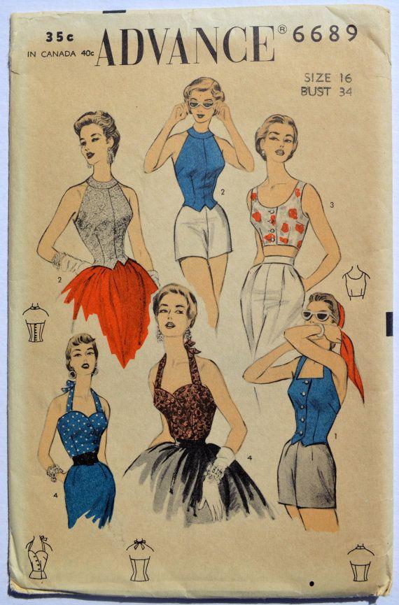 Vintage Advance 6689 Sewing Pattern Women's Halter Top