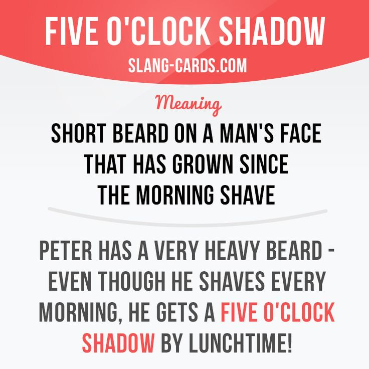 """""""Five o'clock shadow"""" is a short beard on a man's face that has grown since the…"""