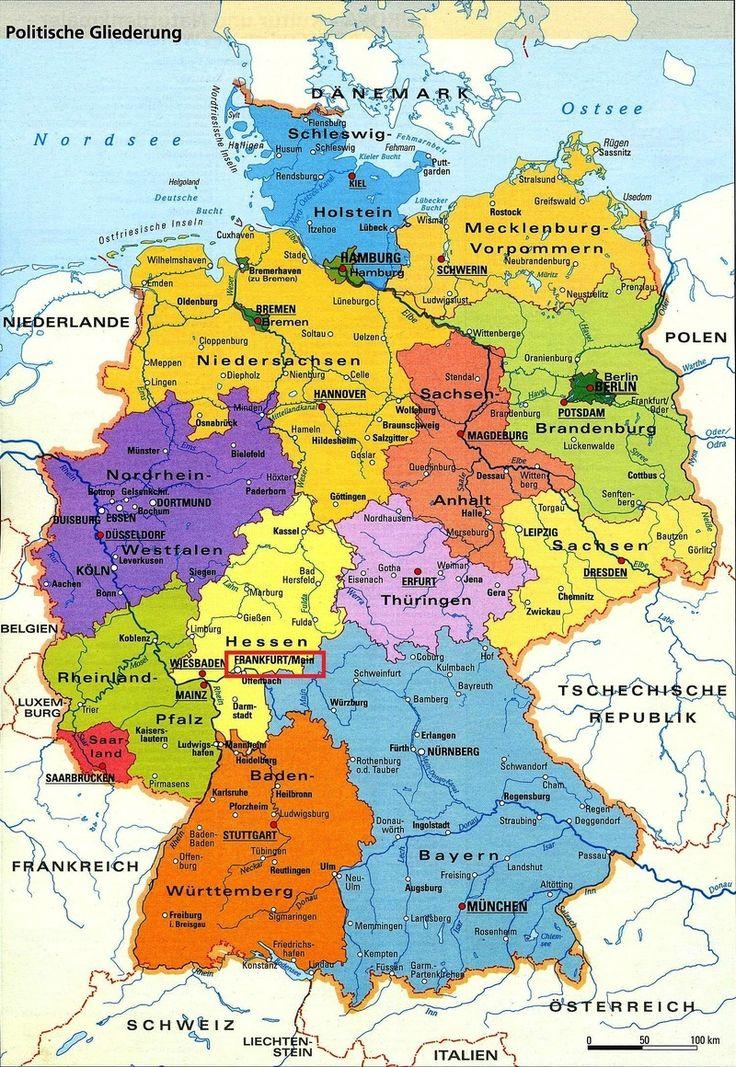 Carte De L Allemagne Avec Les Villes En Allemand