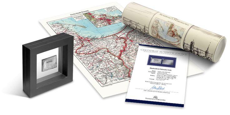 Wolne Miasto Gdańsk - replika znaczka pocztowego w czystym srebrze i przedruk mapy miasta z okresu międzywojennego