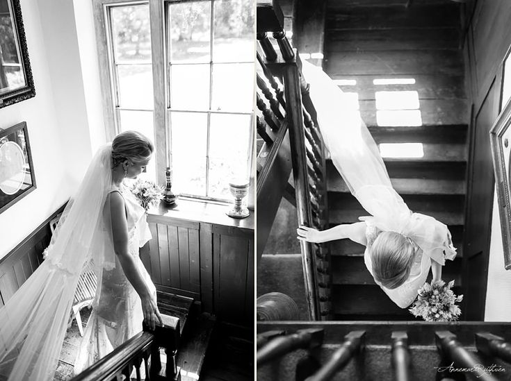 Black and white photo of bride walking down the stairs  #wedding #londonwedding