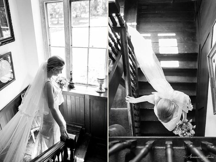 Black and white photo of bride walking down the stairs  #wedding #londonwedding
