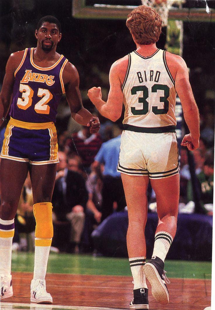 Respectful rivalries... and really short shorts. Larry Bird and Magic Johnson.