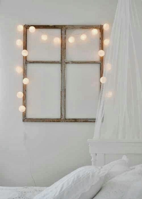 Window frame + Fairy lights headboard/ above bed