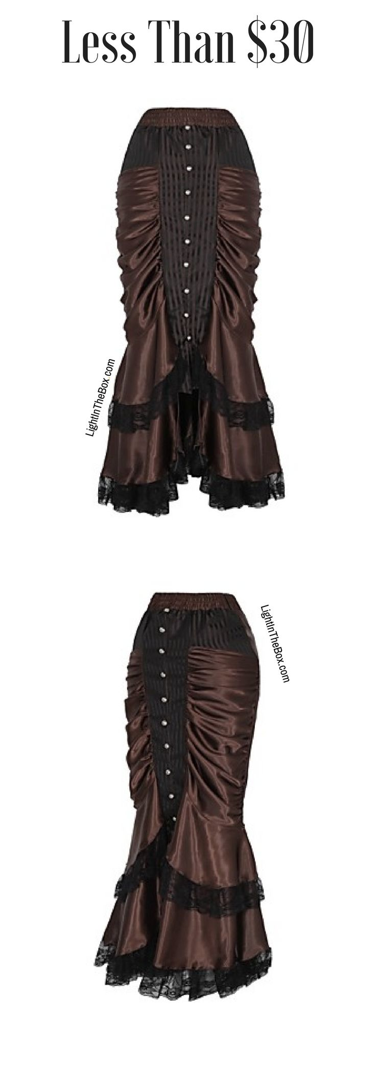 Beautiful ruffle brown silk black lace long skirt for flamenco dances. Like it? Click on the picture to shop = $29.99