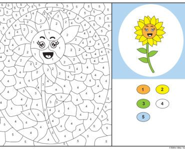 knep, knåp, knep och knåp, knep & knåp, förskola, skola fritids, barnpyssel, pyssel, pyssel för barn, pyssla och lek, lär dig räkna, räkna, dra streck mellan siffror, dra streck, nummer, siffror, lära sig räkna till 5, lära sig räkna till fem, matte, matematik, mattepyssel, måla efter numren, färglägga, färglägga efter siffrorna, solros, målarbild, målarbild för barn, bilder att färglägga