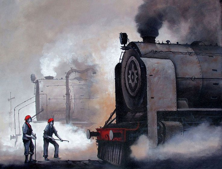 Indian Steam Locomotives 01 Painting, Acrylic on canvas art by Kishorepratim Biswas. Buy Indian Art online at BestCollegeArt.com